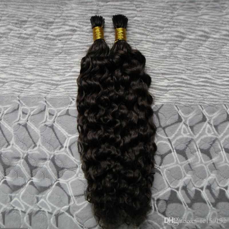 Nail I Tip Hair Extensions Kinky Curly 100g/strands Machine Made Remy Hair Pre Bonded Keratin Capsules Hair#2 Darkest Brown