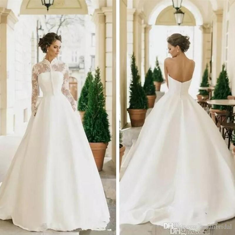 2019 Stunning A Line Satin Wedding Dresses With Long Sleeves Lace Jacket Bridal Gowns Customized Two Piece Vestidos De Marriage