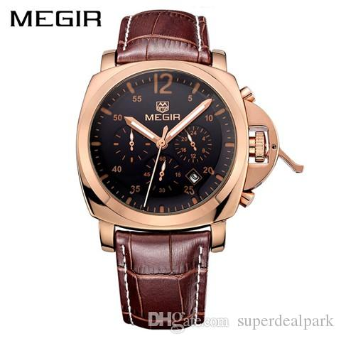 893711f1679 MEGIR Original Men Watch Top Brand Luxury Chronograph Military Watches  Leather Quartz Wrist Watches NAVIFORCE Luxury Brand Watch Man Watch Sport  Watch ...