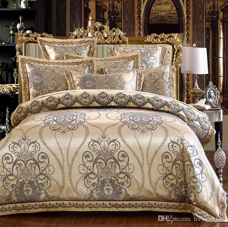 Luxury Satin Jacquard Silk Bedding Set 4/6pcs lace duvet cover Bedclothes Bed Sheet Set cotton Bed cover Queen King size