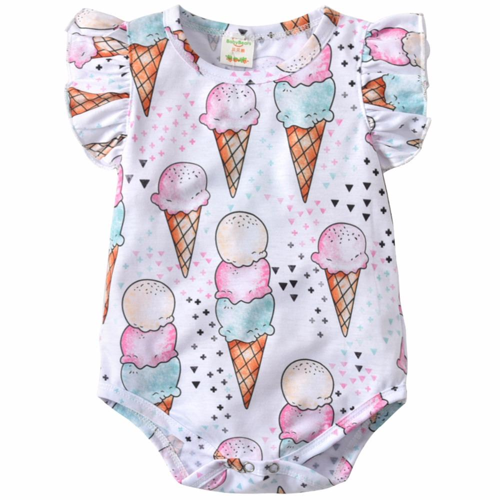 ab891d58e67 Baby Girls Summer Printed Sleeveless Rompers Infant Birthday Party ...