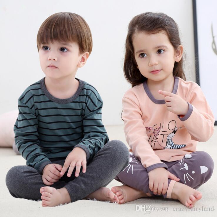4500c3b334 Kids Pajamas Set Outfits Children Spring Fall Long Sleeve Cotton Cartoon  Striped Pyjamas Christmas Nightwear Unisex Sleepwear Clothes Pajama Girl Fun  Kids ...