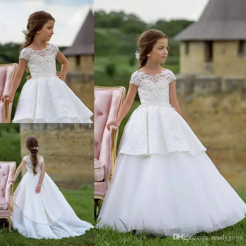 10e25fc94 Princess Lace Flower Girl Dresses Jewel Neck Short Sleeves Lace ...