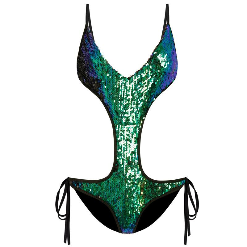 2018 Sexy Women One Piece Swimwear Bodysuit Monokini Swimsuit Padded Push-up Sequins Brazilian Triangle Swimwear BeachWear Bathing Suit