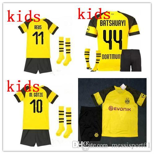 new product b62b8 af424 Borussia Dortmund soccer jersey 2018 2019 MAILLOT DE FOOalit REUS PULISIC  2018/19 Dortmund home football shirts KIDS kit with socks