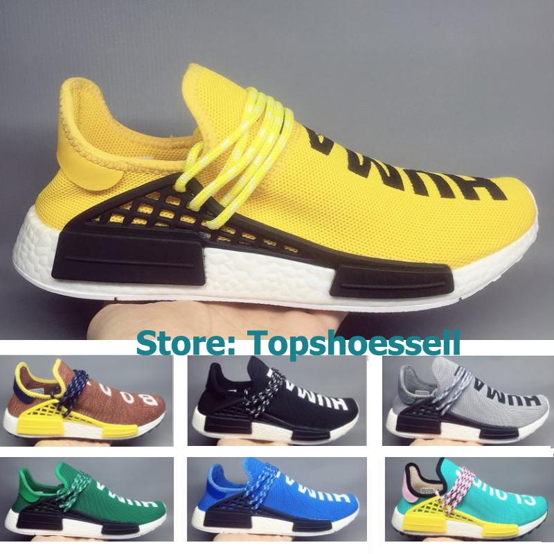 63a32e0304ec 2018 Pharrell Williams NMD Human Race TR Trail Hu NMDs Mens Running Shoes  Yellow Black White Womens Sport Trainers Sneakers With Box EU36 45 Running  Shop ...