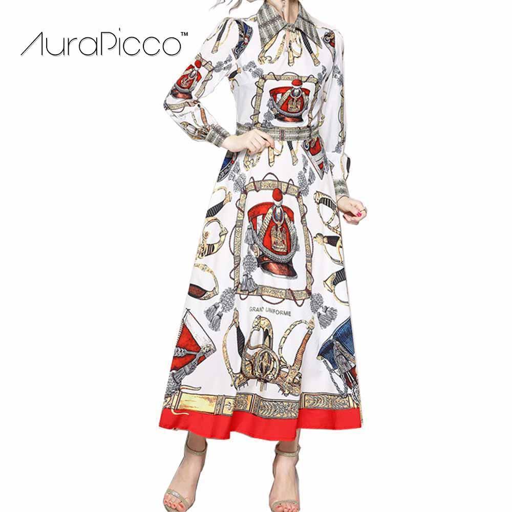 25afec216d2 2019 Designer Runway Maxi Dress Floral Print Lapel Women Dress Long Sleeve  Pleated Party Vintage Elegant Belt Large Swing Vestio From Candycloth