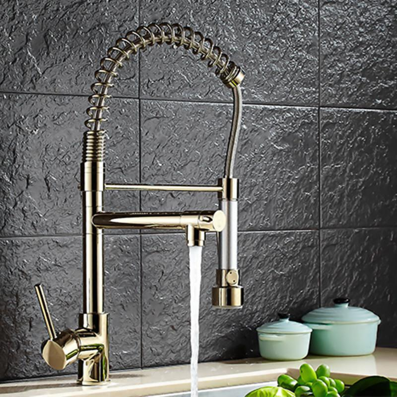 2018 top quality three way kitchen faucet with polished gold kitchen sink faucet of solid brass golden from hymen 25216 dhgatecom - Gold Kitchen Faucet