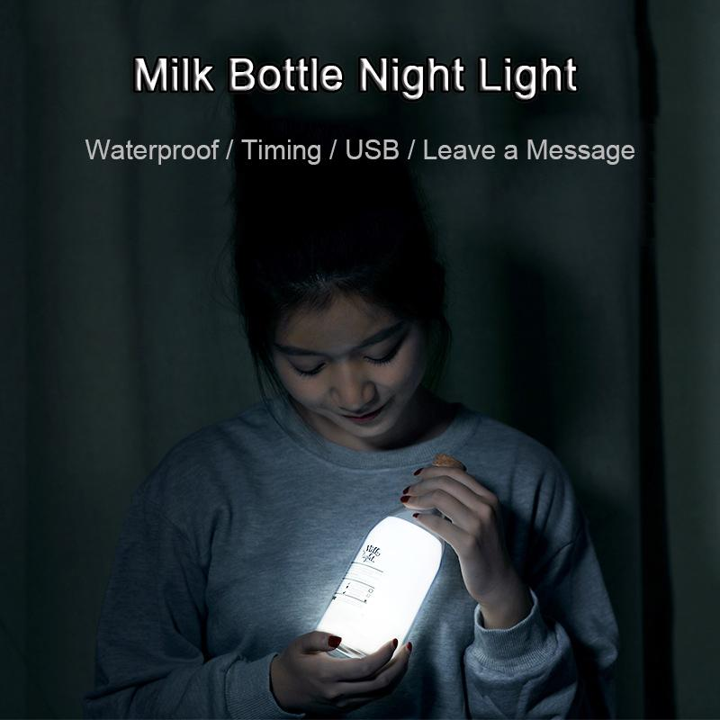 Creative Milk Bottle Night LED Lamp Timing 30mins Waterproof USB Desk Atmosphere Night Lightning Jar Sleeping Bedroom Nightlights