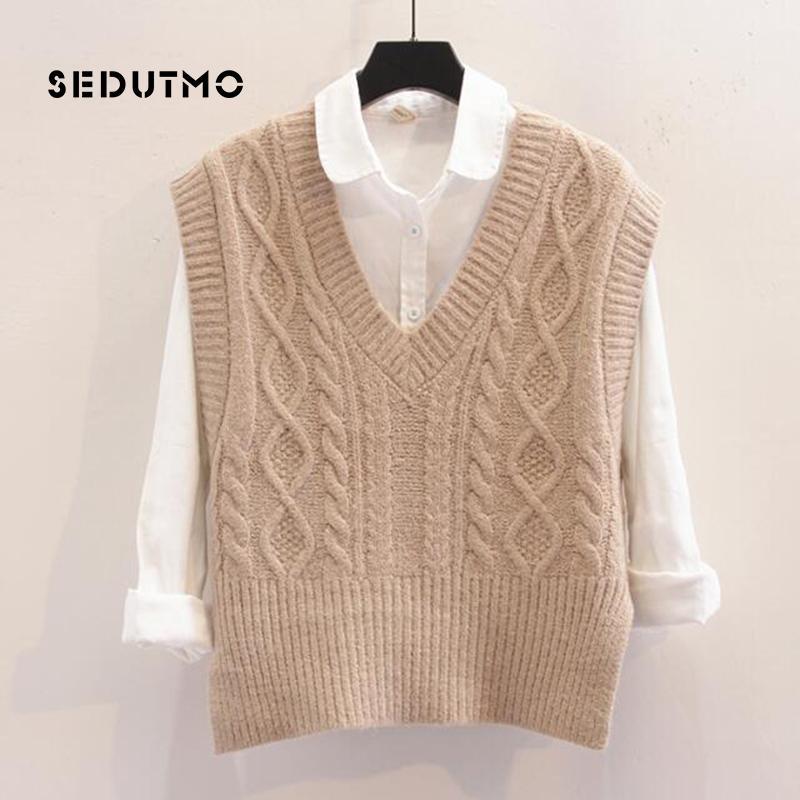 Compre SEDUTMO Otoño Crochet Mujeres Chaleco Suéter Pullovers Tejer Top  Vintage Corto Jersey De Invierno Suéter De Gran Tamaño Suéter ED358 A   34.21 Del ... 26bdde1477a2