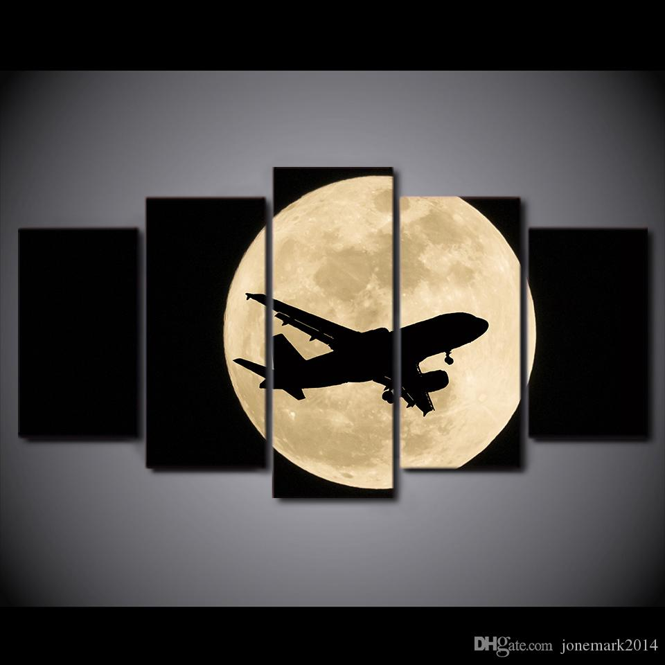 HD Printed Canvas Art Airplane Moon Night Painting Wall Pictures for Living Room Modern CU-2890C
