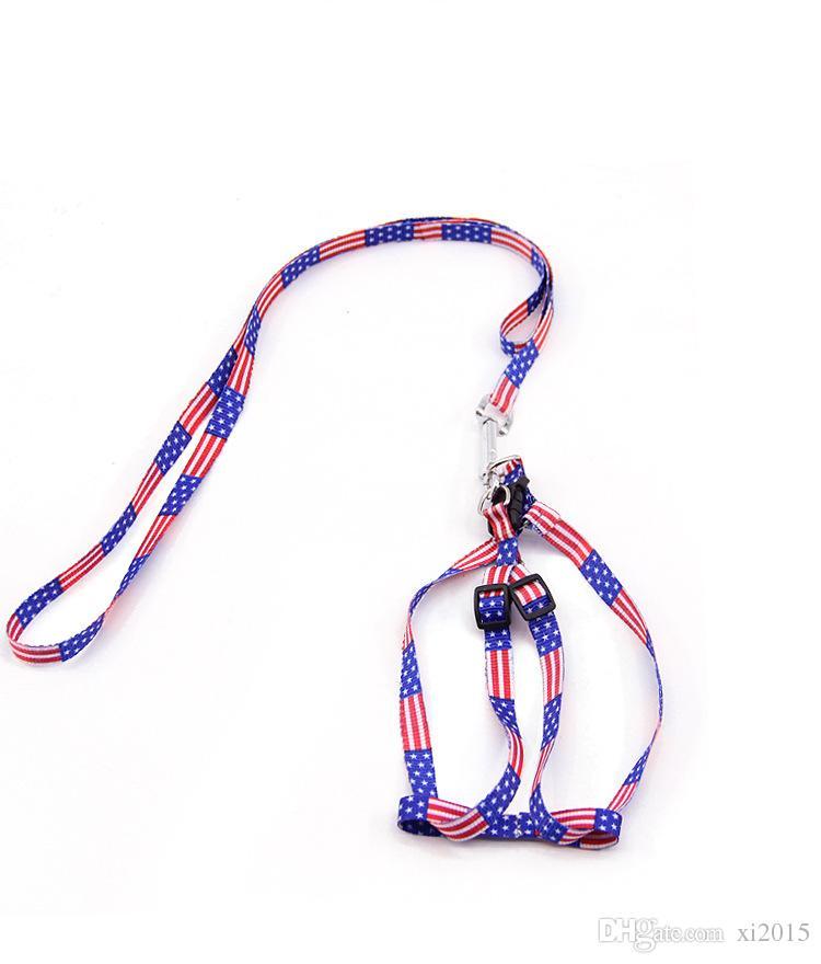 Laisse de harnais imprimé pour animaux de compagnie Chien de corde de chiot réglable Chat pour animaux de compagnie Fournitures pour petits chiens 1 * 120cm wen6764