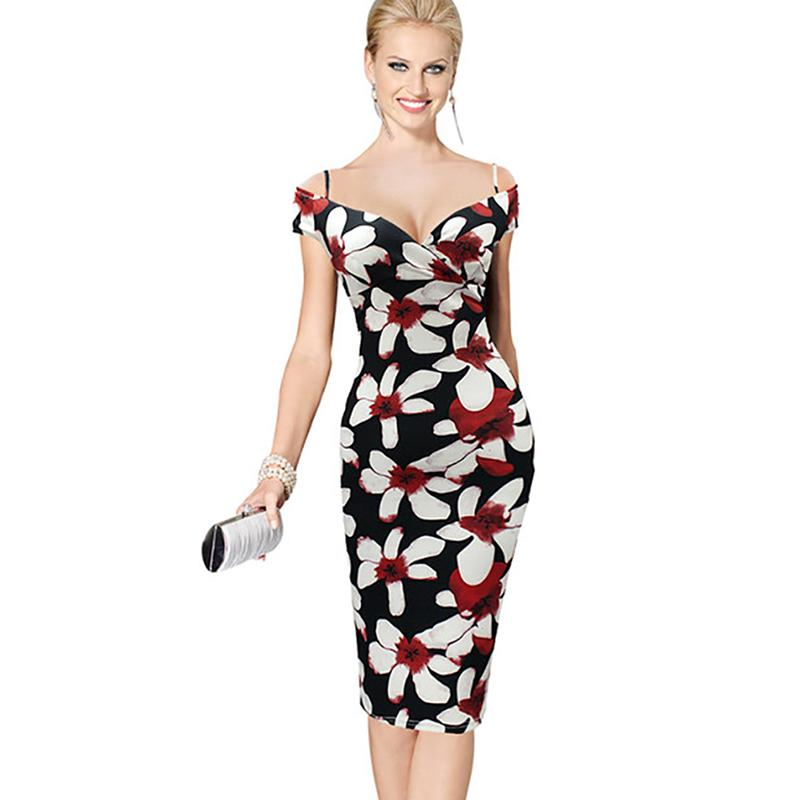 Women Vintage Floral Print Off Shoulder Bodycon Pencil Dress 2019 New  Fashion Female Summer Sexy Camis Dress All White Maxi Dresses Off The  Shoulder Summer ... 346e5656e