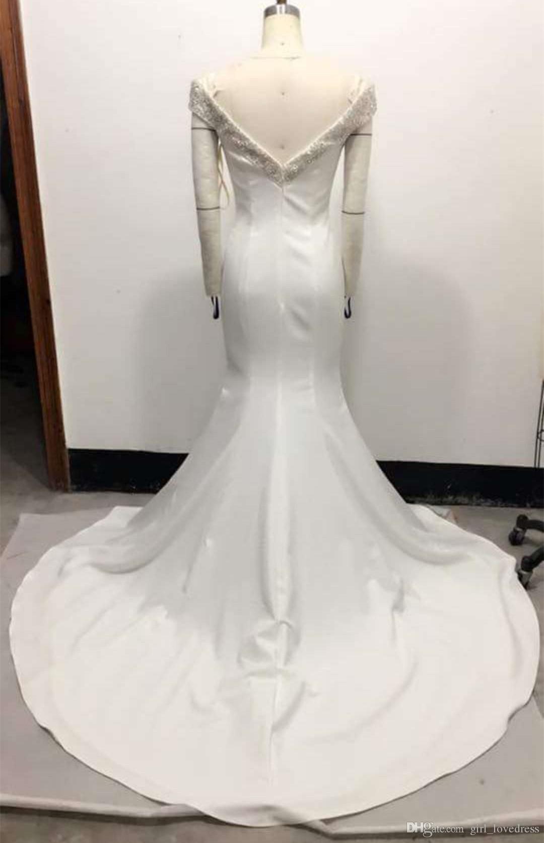 Elegante lange wulstige Mermaid V-Ausschnitt Brautkleider Frauen Satin Sweep Zug Elfenbein Brautkleid Open Back ärmellose Brautkleider