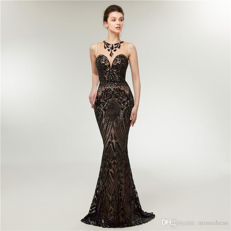 b693c97303ca Sirena negra vestidos de fiesta lentejuelas largas y de lujo vestidos  formales noche 2018 vestido de gala batas de soirée