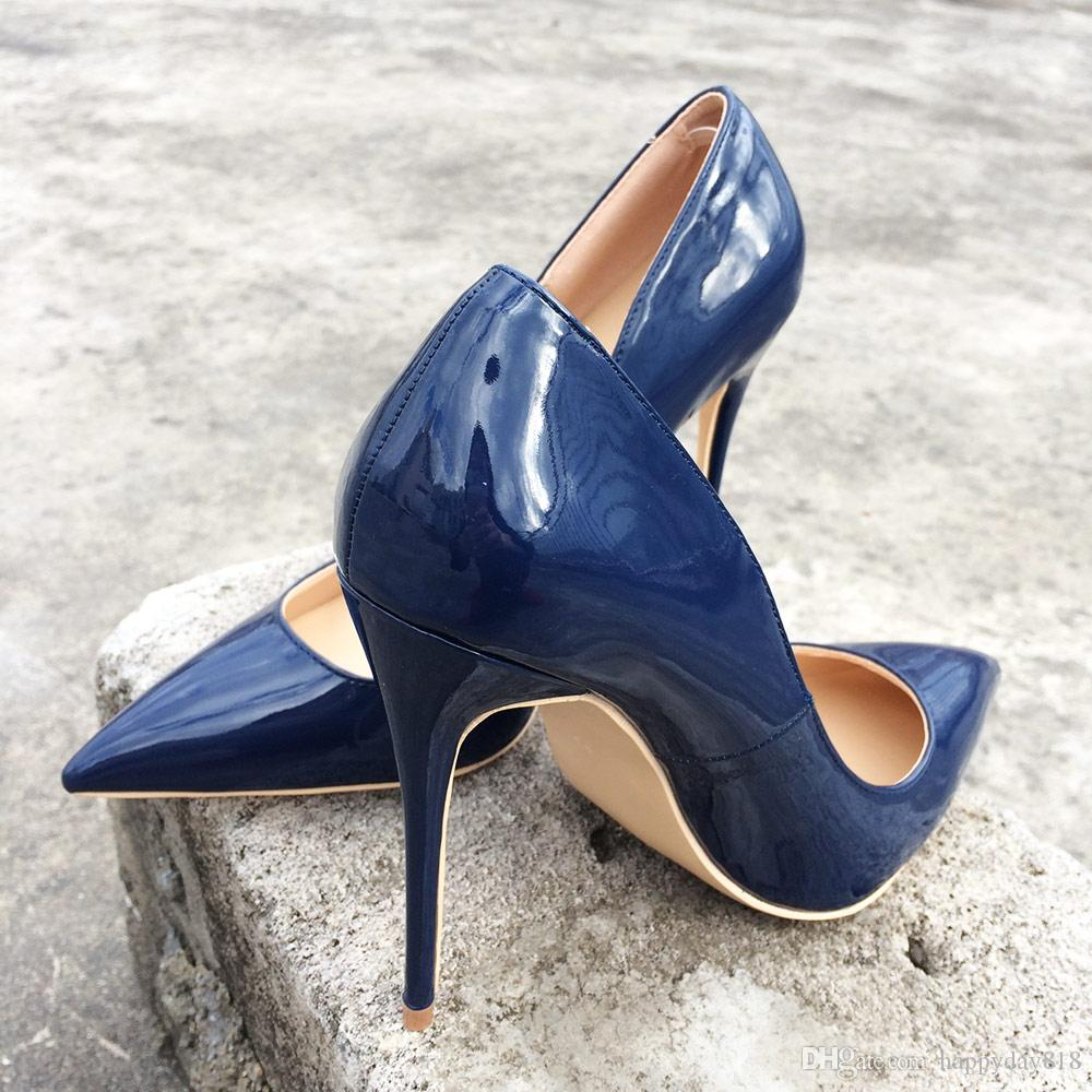 8b1e95124eddc Fashion Women Pumps Navy Patent Leather Pointed Toes High Heels Ladies  Evening Party Pumps Wedding Bride Shoes Size 33 43 Bran Flat Shoes Online  Clothes ...