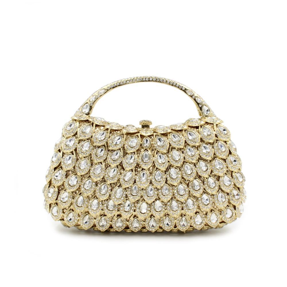 1e68d54c5b Small Size Evening Bags For Women With Handle Gold Crystal Clutch Evening  Bags In Pillow Shape Bling Sequin Party Purse Clutch Handbags From  Amoyshoes, ...