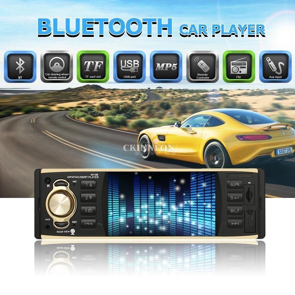 DHL 5PCS Car Radio Stereo MP3 Player Digital Bluetooth 60W FM Audio Music  USB/SD/MMC with In Dash AUX Input (4019B)