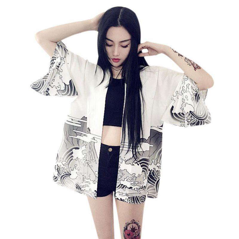 2018 Vintage Japanese Harajuku style waves and wind dragon Japanese kimono print cardigan summer women clothing autumn blouse