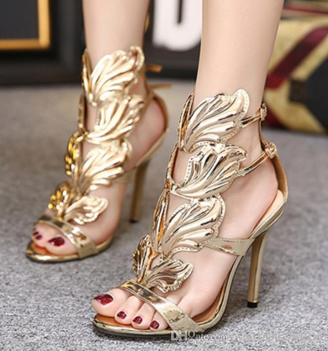 a24c00535aacb5 Hot Sale Golden Metal Wings Leaf Strappy Dress Sandal Silver Gold Red  Gladiator High Heels Shoes Women Metallic Winged Sandals Walking Sandals  Sandals From ...