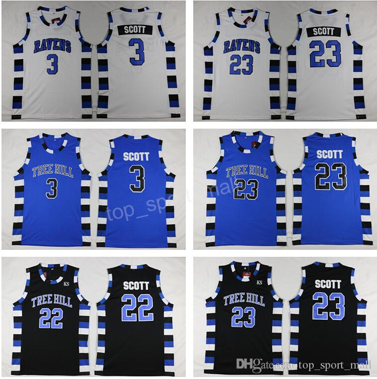 735d271a42c0 2019 Men Basketball One Tree Hill Raven Jerseys Cheap 3 Lucas 23 Nathan  Brother Movie Jersey Sport Team Black Color Purple Alternate White From ...