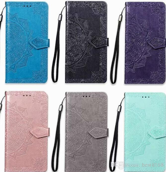 online store 2fda3 96a80 Imprint Wallet Leather Case For LG Stylo 4 Stylo4 LV3 LV5 G7 K10 Q7 2018 X  Power 2 Lace Flower Datura PU Card Luxury Phone Pouch Flip Cover