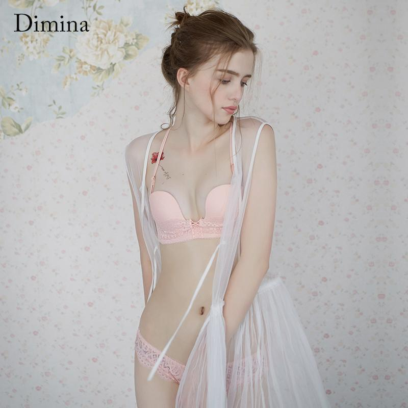 3264a09a69a 2019 Dimina Fashion Design Ladies Underwire Bra Set Push Up Bra Suit Lace Floral  Padded Underwear Lingerie Set Intimates Bralette From Redbud03