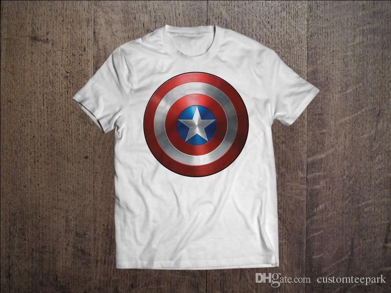 Compre Capitão América Marvel Os Vingadores Dos Homens T Shirt Branca  Camiseta S M L Xl Xxl 1 Tees Homens Da Camisa Masculina Simples Branco De  Manga Curta ... 39637d496fa1b