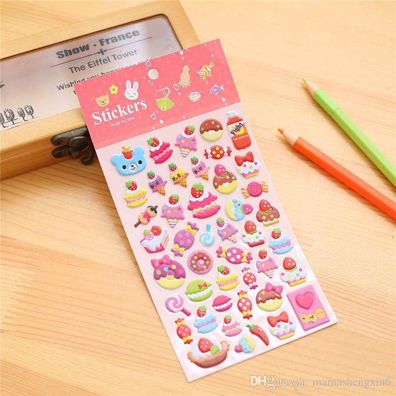 Kinder 3D Cartoon Aufkleber Party Telefon dekorative Buch Papier Tagebuch Aufkleber Spiel Kinder Geschenke Spielzeug Tier Blase Baumwolle Aufkleber