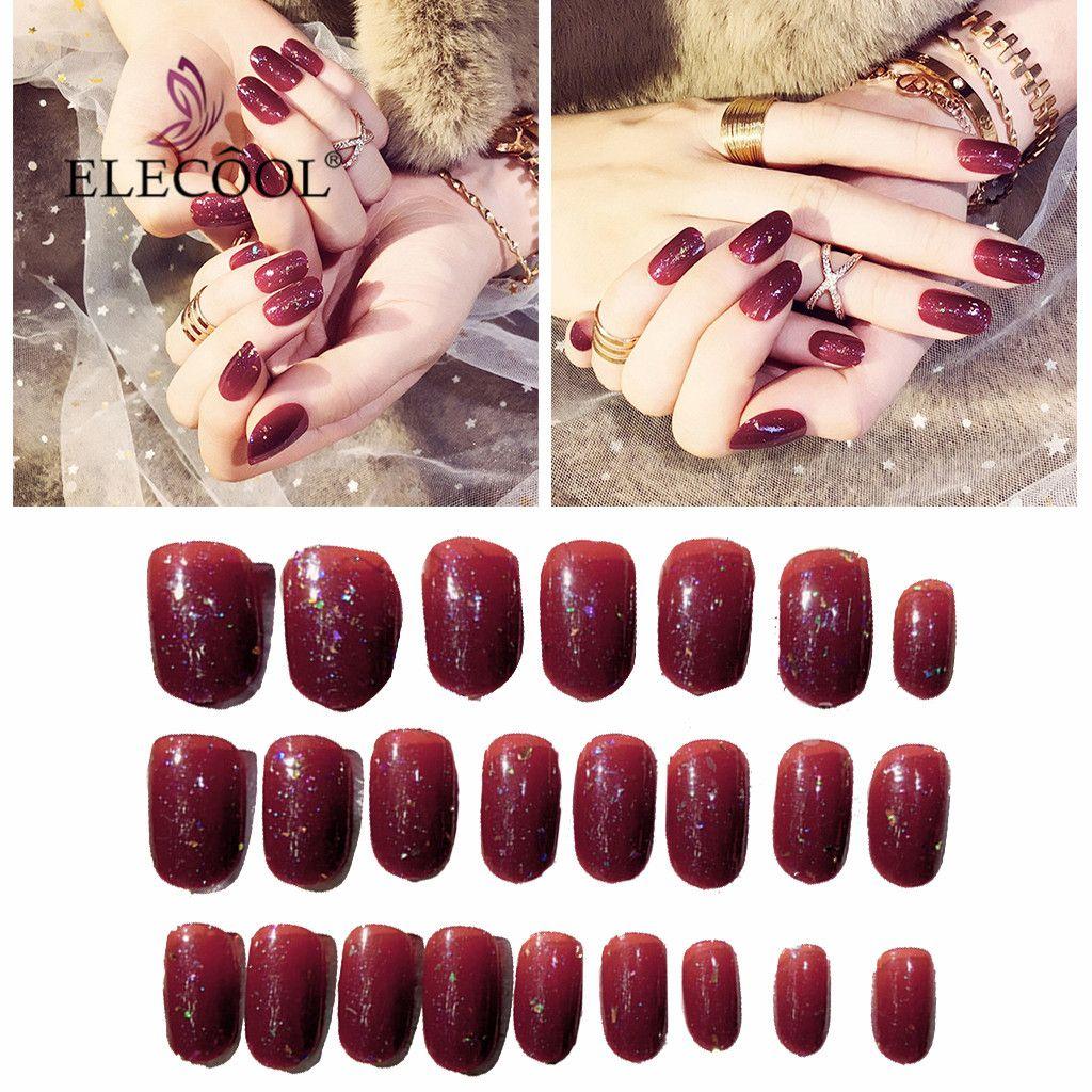 Grosshandel Elecool Red Fake Nails Nagel Tipps Nail Art Falsche Nagel