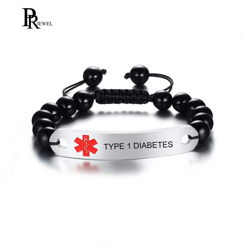 Custom Free Medical Alert ID Bracelet Handmade 8mm Beads with Stainless  Steel TYPE 1 DIABETES Tag Adjustable Length