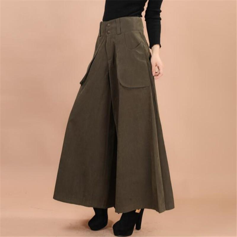 Plus size summer Women Wide Leg Dress Pants vintage Female Casual solid  Skirt Trousers Loose 50s Capris Culottes Pocket ZY3365 S914