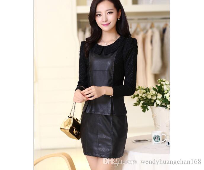 297a8ba28df52 Large Women Slim Leather Lace PU Dress Rivet Casual Plus Size L XL ...