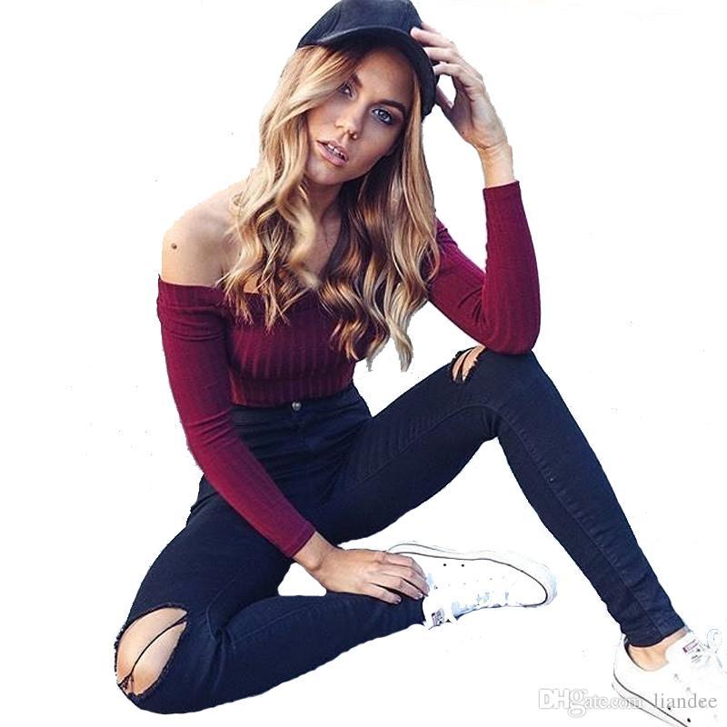 4b01abc8e9b39 Autumn Woman Shirt Off Shoulder Crop Top T Shirts Knitted Cotton Long Sleeve  Solid T Shirts For Women Clothing Fashion Slim T Shirt Rude Tshirts  Offensive ...