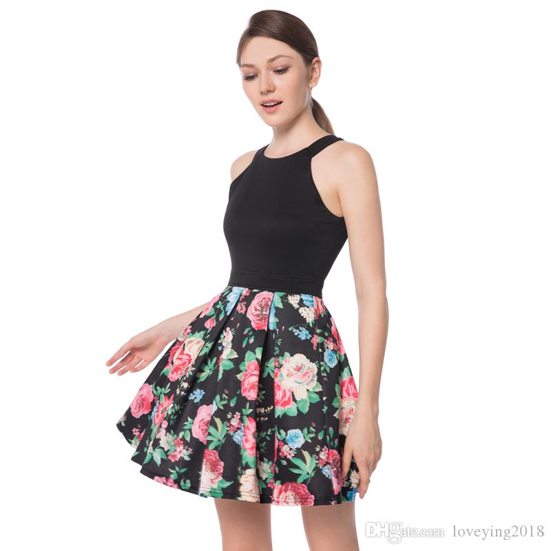 eb0118129f Loveying Elegant Sexy Crew Neck Sleeveless Black Mini Dress Flowers A Line  Casual Floral Dress Short Womens Cocktail Party Tunic Dress White Dresses  For ...