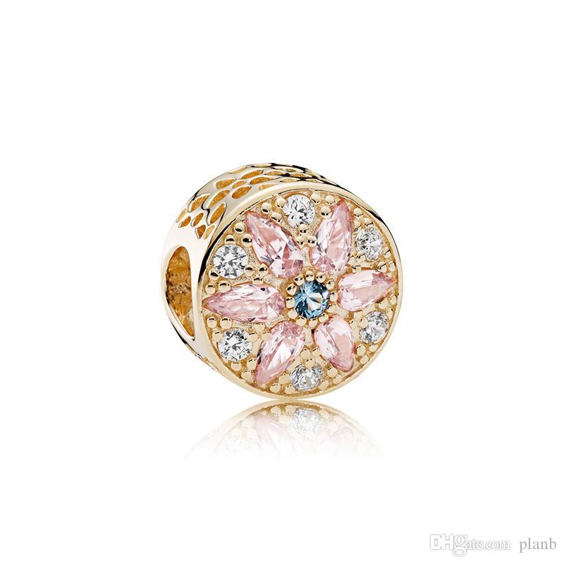 2018 Nouvelle Authentique Réel 925 Sterling Argent Cubique Zircone Européen Perles Fit Pandora Chaîne Bracelet DIY Charmes De Mode Bijoux