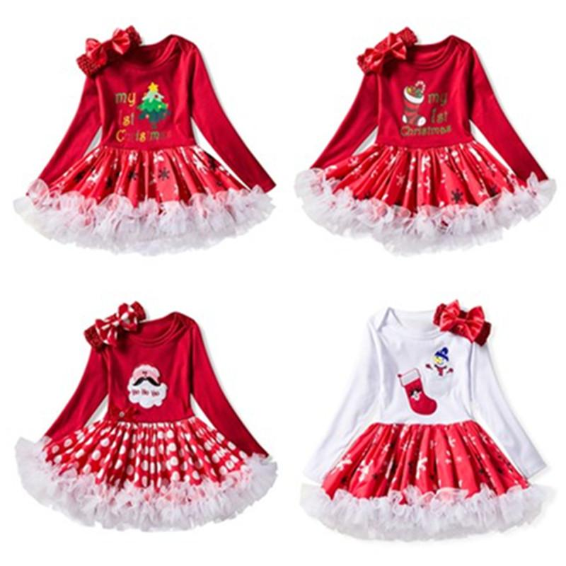f091c0bb7 2019 Newborn Baby Girl My First Christmas Romper Tutu Dress+Headband Long  Sleeve Splice Outfits Clothes Infant Party Dresses 24M From Entent, ...