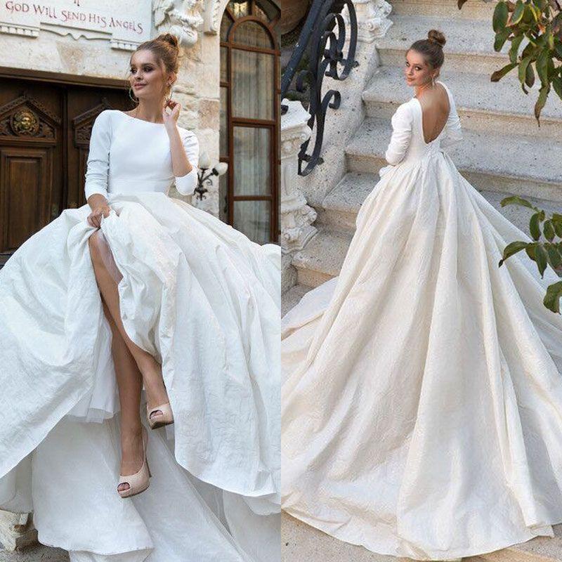 Simple Wedding Dress With Sleeves: 2018 Milla Nova Simple Satin Wedding Dresses 3/4 Long