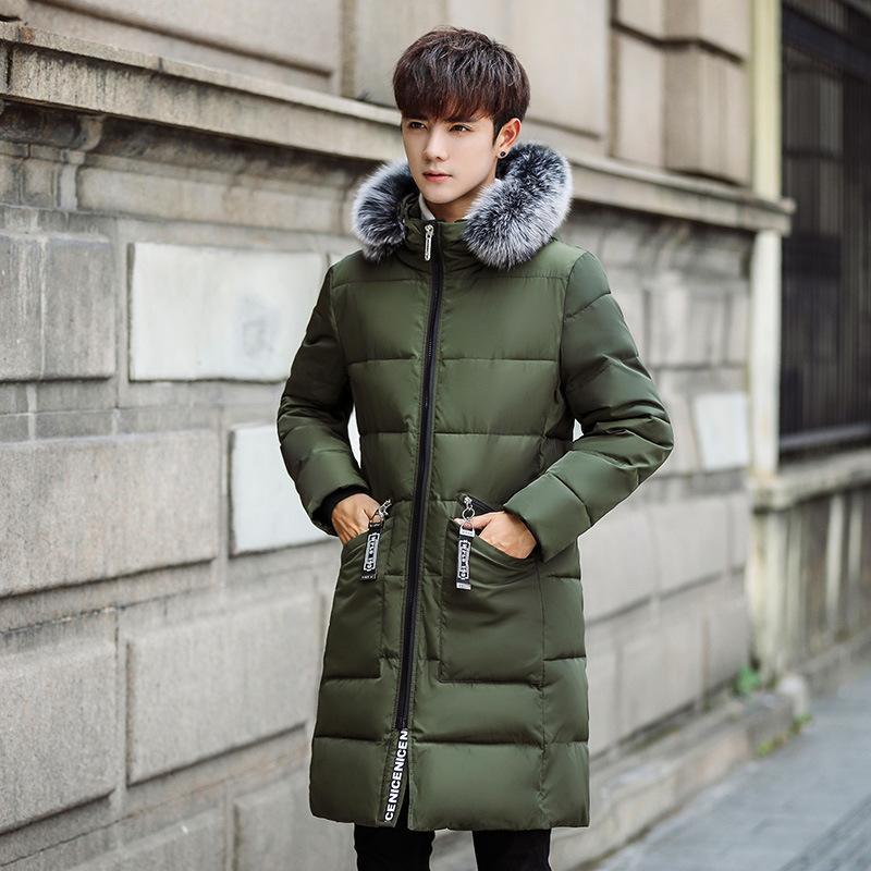 Winter Herren Daunenjacke mit abnehmbaren Kragen Dekoration, Mode mit Kapuze langen Abschnitt, jugendlich dicke warme Herren Wintermantel