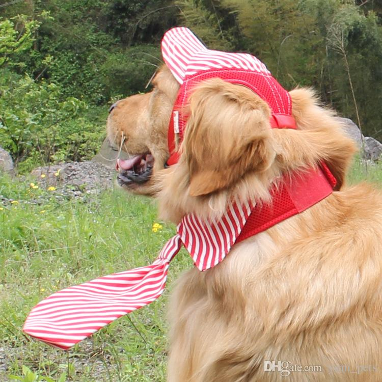 Summer Striped Dog Hat Pet Cat Baseball Cap Casual Outdoor Pet Sun Hat For Small Medium Large Dogs Travel Hiking Pet Supplies