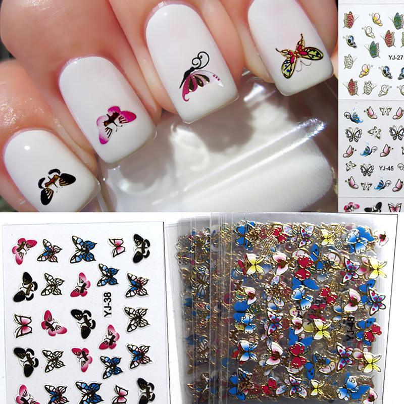 Beauty 3d Metal Nail Sticker Set Butterfly Full Tip Decals Diy ...