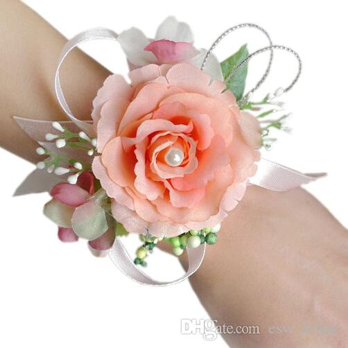 2018 wholesale bridal wrist flower corsage bridesmaid sisters hand 2018 wholesale bridal wrist flower corsage bridesmaid sisters hand flowers wedding prom artificial silk flowers bracelet jm0178 from eswhouse mightylinksfo