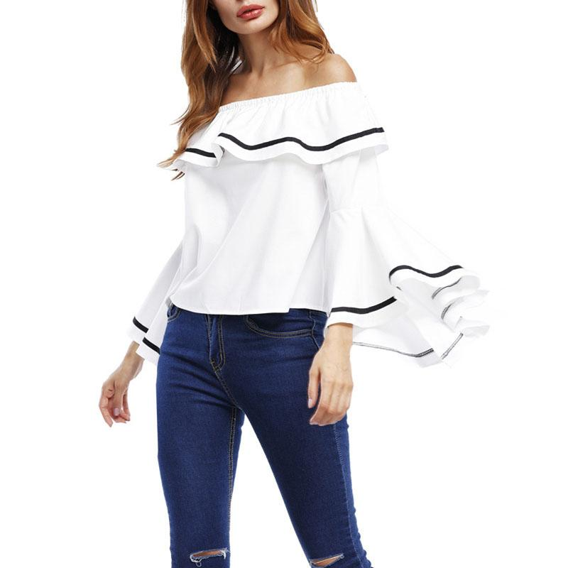 4205e3e952dcce 2019 Ruffles Summer Women Blouse Casual Sexy Big Flare Sleeve Off Shoulder  Blouse Striped Slash Neck Ladies Tops Bluasa Femme From Lihaoji2222