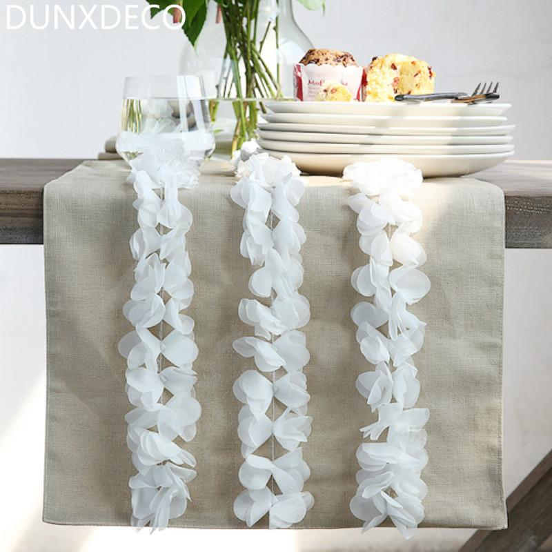 Dunxdeco Table Runner Long Table Cover Fabric Modern Romantic Mesa  Decoration Cotton Lace Flora Store Party Wedding Decoration Table Cloth Runners  Table ...
