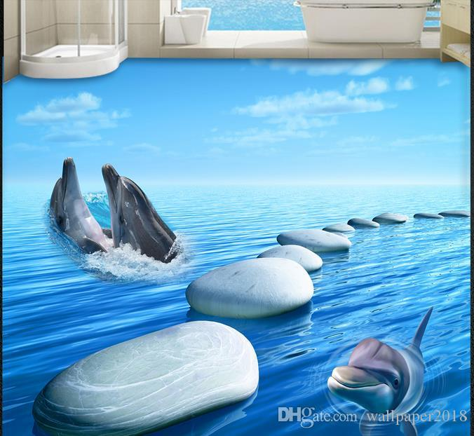 3d pvc floor wallpaper for bathroom Pebble dolphin floor stickers wall papers home decor living room