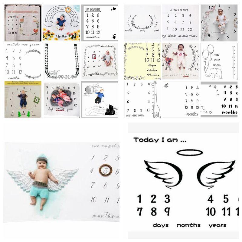 100 100cm Infant Baby Milestone Blanket Photo Photography Prop Blankets Backdrop Boy Girl Photo Accessories 23 Design Kka5803