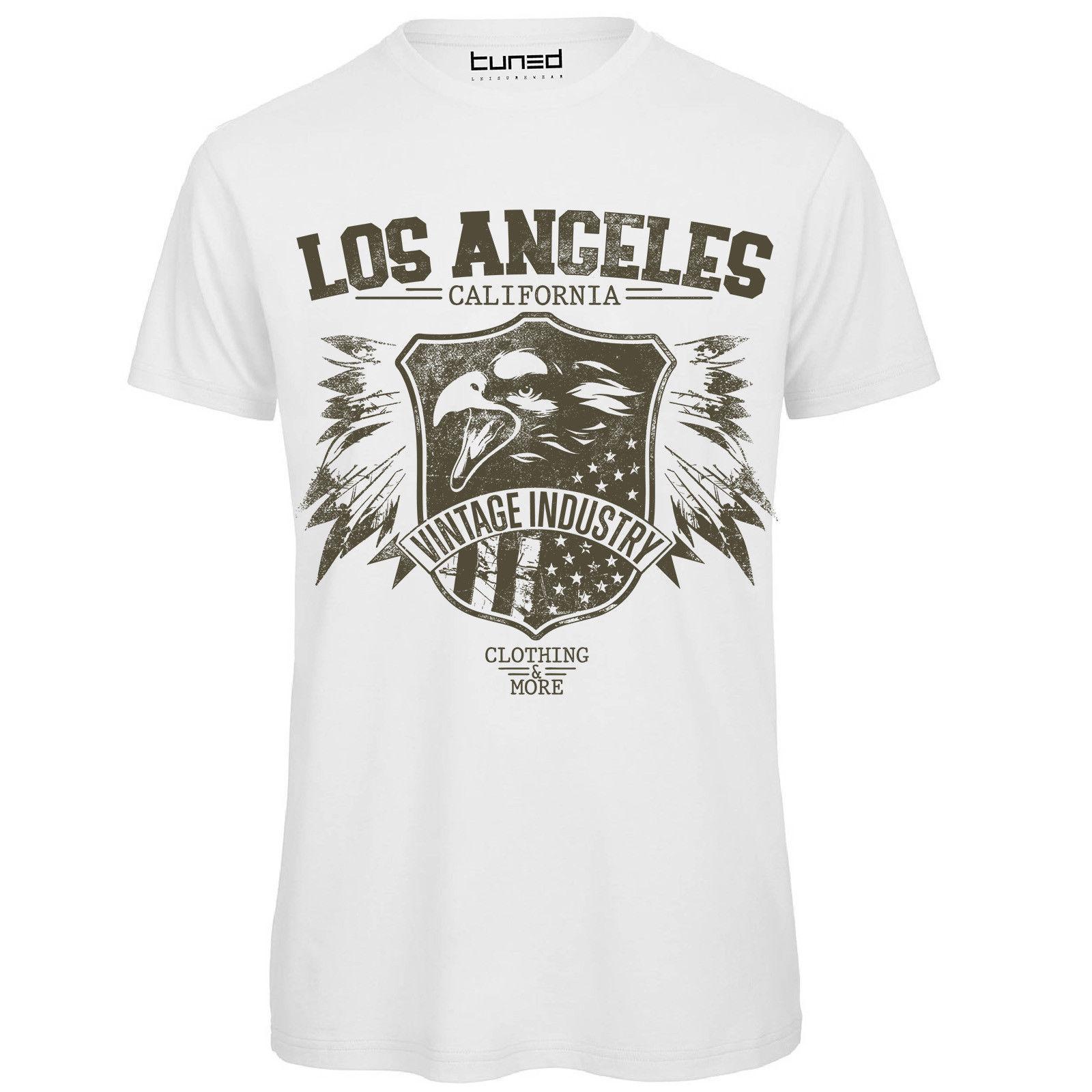 b8cb87de6c T-shirt Divertente Uomo Con Stampa Scritte Vintage Los Angeles Eagle Tuned  Men Adult T Shirt Short Sleeve Cotton