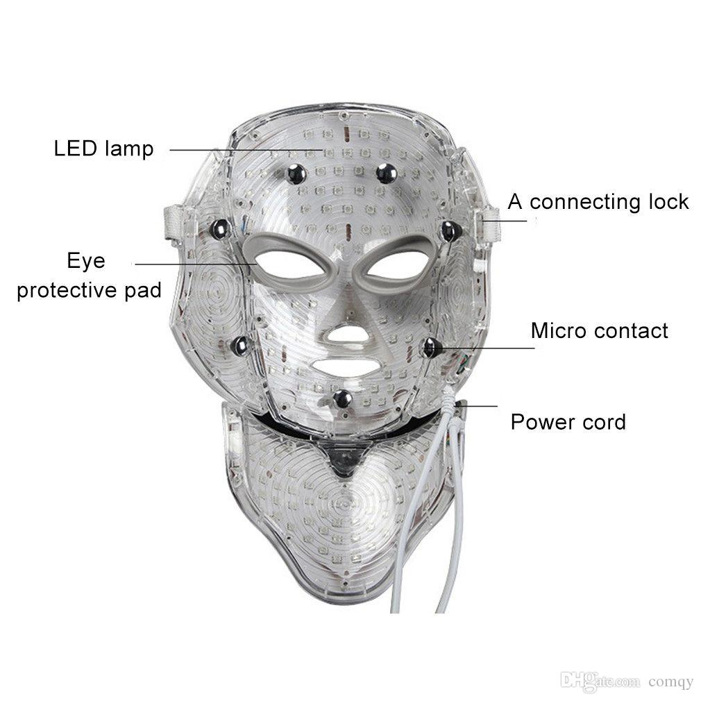 LED Facial Neck Mask EMS Microelectronics LED Photon Mask Wrinkle Removal Skin Rejuvenation For Face and Neck Beauty