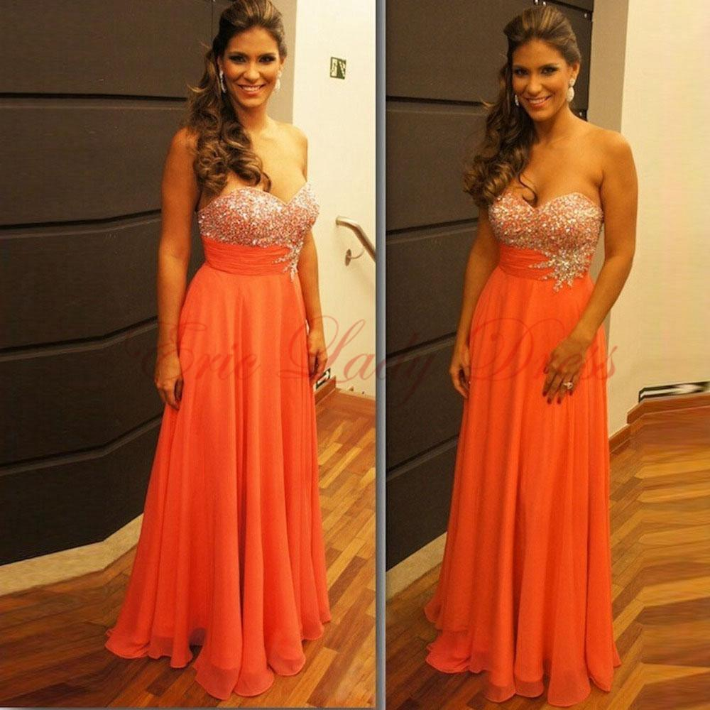 Orange Chiffon A Line Pageant Evening Dresses Women\'S Beading ...
