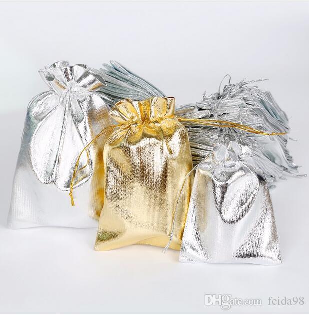 Sacchetti di organza di stoffa di stoffa metallica Decorazione di nozze Regali di favore Shinning Candy Packaging Pouches GA22